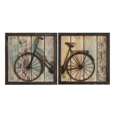 home interior wall decor stratton home decor set of 2 rustic bicycle wall decor