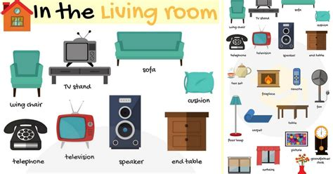 In the Living Room Vocabulary Names of Living Room Objects 7 E S L