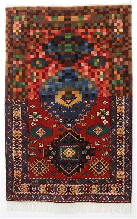 traditional oriental rugs meet bold digital graphics