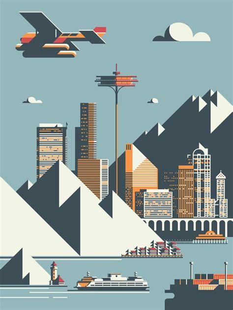 design poster on illustrator seattle by rick murphy flat design illustration seattle