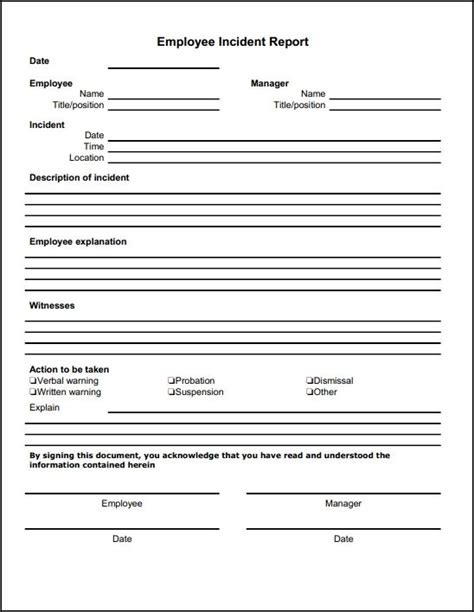 employee incident report template description of