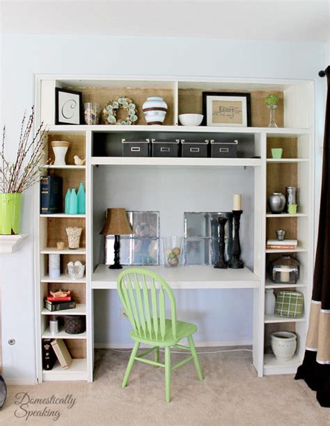 remodelaholic ikea bookcase to built in desk nook hack