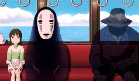 studio ghibli film timeline chihiro sits with the spirit no face on the train in