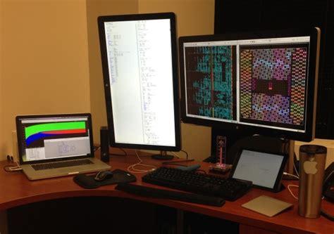 Programmer Desk Setup Mac Setup The Desk Of A Senior Scientist Fpga Developer
