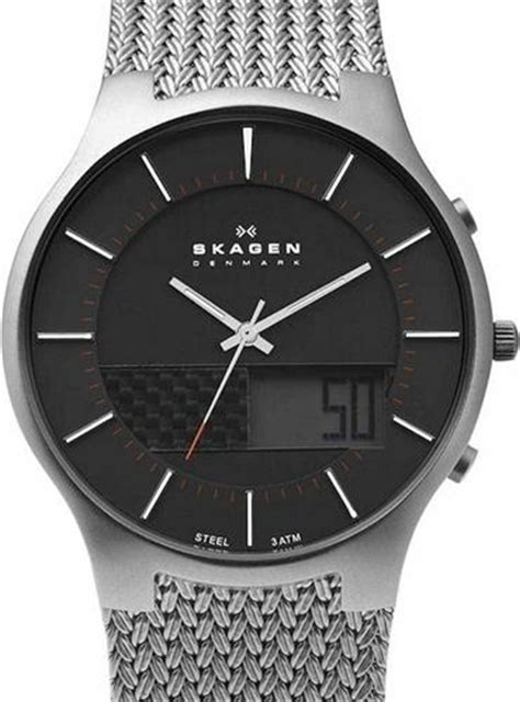 skagen steel wrist watches black analog digital display
