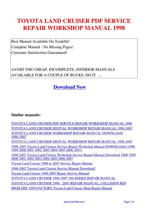 toyota land cruiser 2004 service manual download repair service manual pdf toyota land cruiser service repair workshop manual 1998 by guang dong issuu