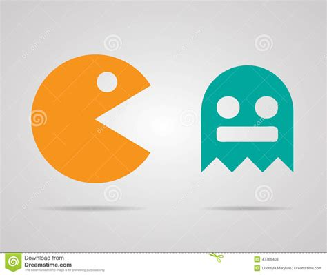 pacman colors pacman ghosts 8bit retro color icons set editorial