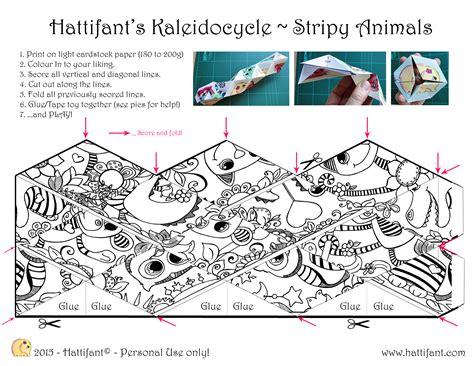 endless card template pdf hattifant s stripy animal kaleidocycle hattifant