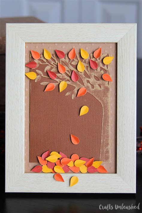 autumn paper crafts fall paper craft falling leaves embossed decor