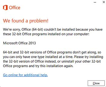visio 2013 32 bit trial office 64 bit couldn t be installed error when you