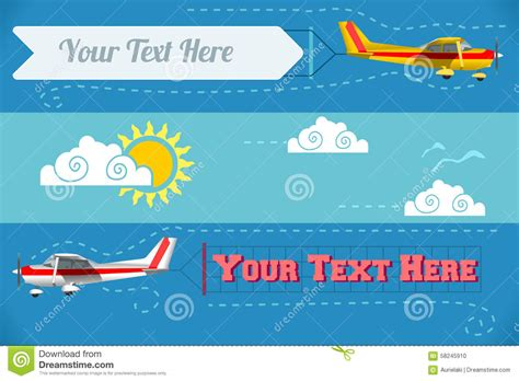 printable airplane banner airplane banner vehicle 2d stock vector image 58245910