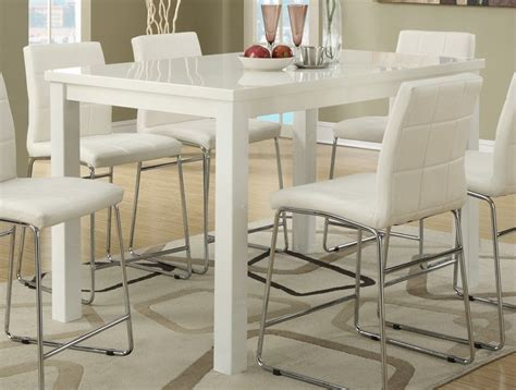 high gloss white finish counter height dining table pub