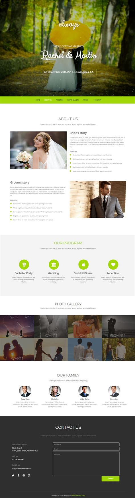 Html Bootstrap Wedding Website Template Free Download Webthemez Wedding Planner Bootstrap Template