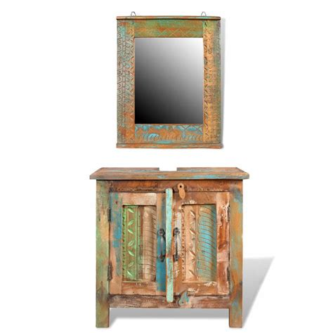 reclaimed solid wood bathroom vanity cabinet set with