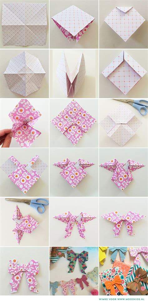 Origami Ribbon - origami strik vouwen papier lace paper bows and