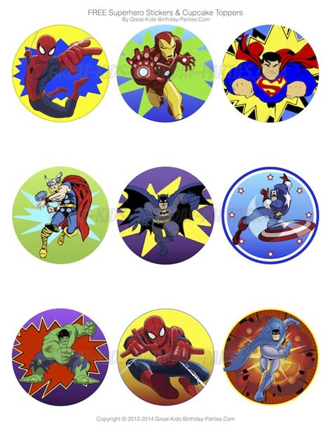 printable marvel stickers superhero party ideas