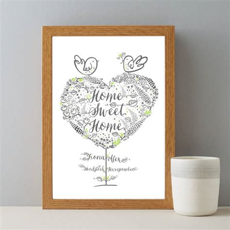 home gifts personalised new home sweet home couples gift print by