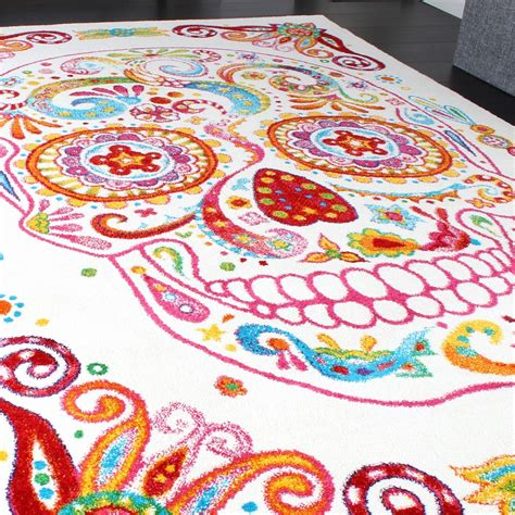 totenkopf teppich bunter totenkopf design teppiche