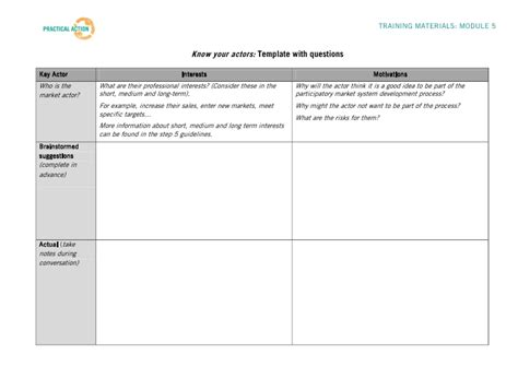 step 5 training materials know your actors template
