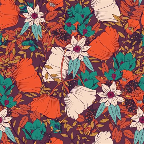 pattern flower problem coloured flowers pattern design vector free download