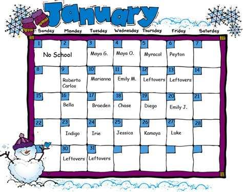 snack calendar template january snack calendar jpg images frompo