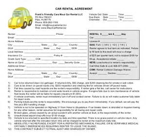 Car Rental Agreement Form Car Rental Agreement 8 Free Word Pdf Documents