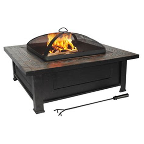 shop allen roth 36 in black steel wood burning pit