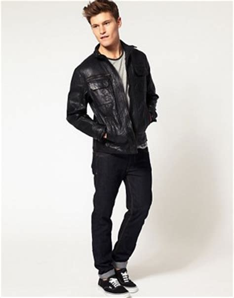 Bench Bench Leather Jacket At Asos