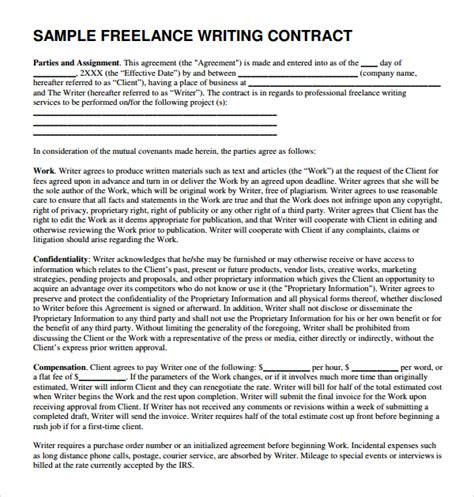 Contract Letter Format For Freelancer Sle Freelance Template 5 Free Documents In Pdf