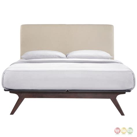 Bed Platform King Tracy Contemporary Upholstered Platform King Bed Cappuccino Beige