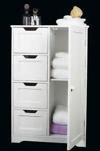 White Wooden Bathroom Storage White Wooden Storage Cabinet With Drawers And Door Bathroom Bedroom Cabinet Ebay