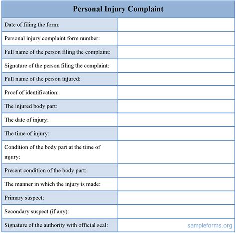 Personal Injury Claim Form Template personal injury complaint form sle personal injury