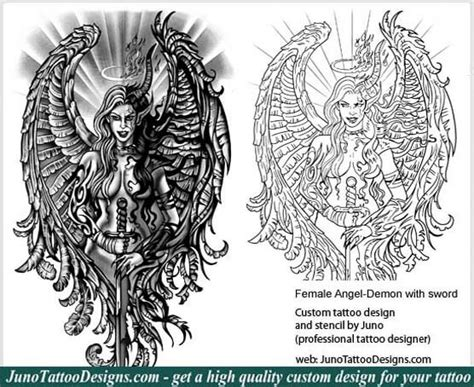 female angel demon sword tattoo tattoo stencil how to
