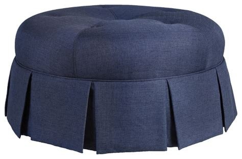 round tufted ottoman with skirt ava round pleated upholstered ottoman traditional