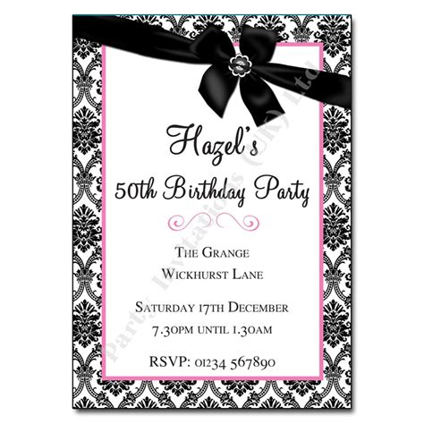 Black And White Birthday Invitation Card Template by Black And White Invitations Theruntime