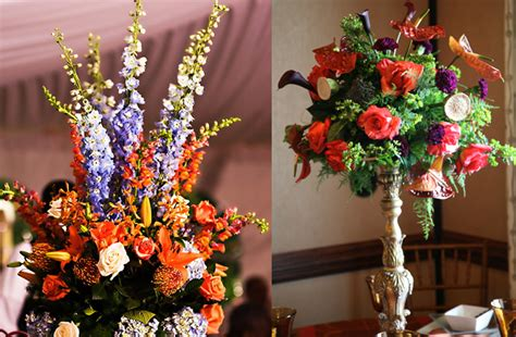 Tropical Wedding Flowers Dramatic Reception Centerpieces Purple And Orange Centerpieces For Weddings