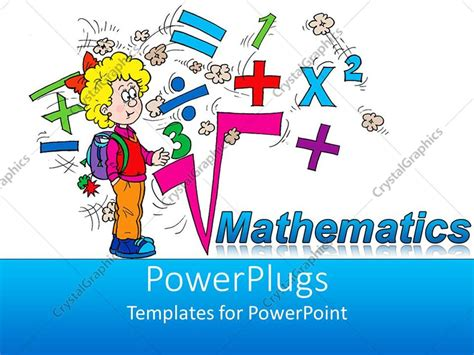 Math Powerpoint Templates Free Powerpoint Template Math Related Symbols And The Word Mathematics With A Blond Girl Pupil On