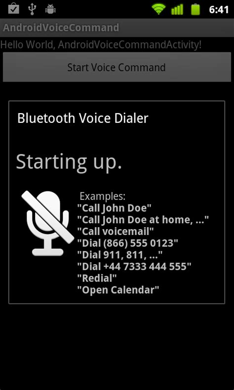 voice commands android android er start voice command using intent of action voice command