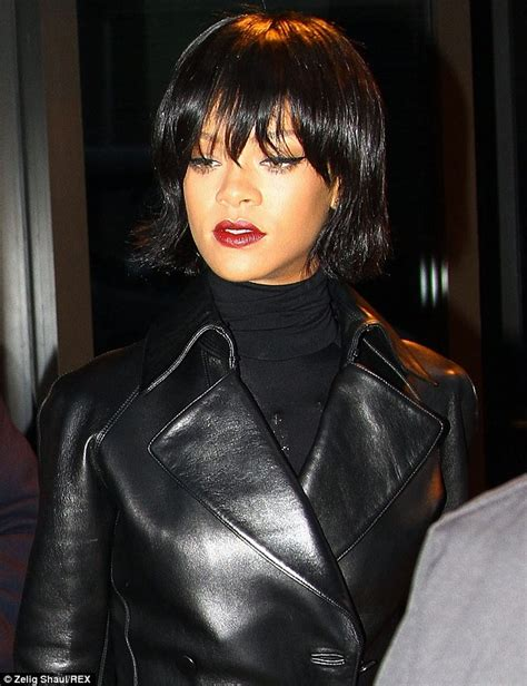 Rihanna Shows Us How Bangs Are Meant To Be Worn by Rihanna Shows New Bob Haircut In Leather