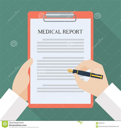 doctor hand writing on medical report stock vector image