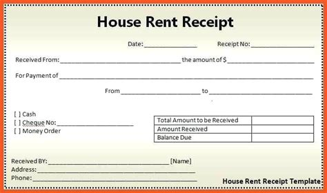 room rent receipt format rent slip format house rent