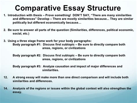 structure comparative essay similarities and differences essay structure