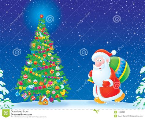 santa claus and christmas tree stock illustration image