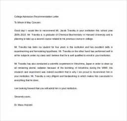 Letter Of Recommendation For College Admission Exles Sle College Recommendation Letter 14 Free Documents In Word Pdf