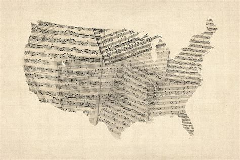 map of the united states song united states old sheet music map digital art by michael