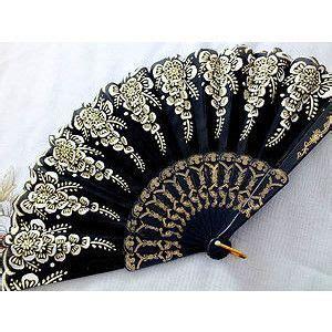 fancy fans wholesale frilly fans black white floral fan