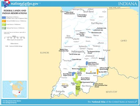 My Search Indiana Map Of Indiana Map Federal Lands And Indian Reservations