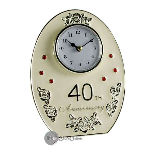 Wedding Anniversary Jewels by Ruby Wedding Anniversary Gift Oval 40th Clock 20851