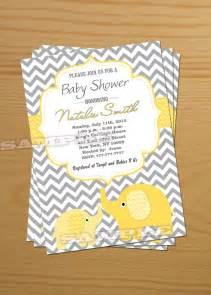 elephant baby shower invitation gender neutral baby shower invitation baby shower invites yellow