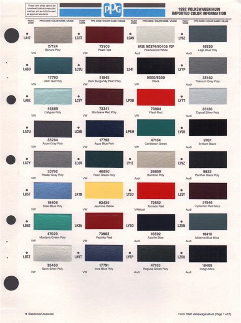 paint chips 1992 volkswagen